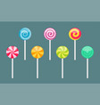 set lollipops with spiral and ray patterns vector image