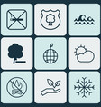 set of 9 ecology icons includes save world vector image