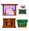 set of interior items isolated on white background vector image vector image