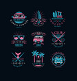 set original emblems for surfing club vector image