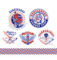 set vintage barbershop emblems labels and vector image