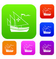 ship of columbus set collection vector image vector image