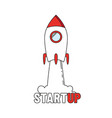 startup - line design rocket launch and smoke vector image vector image