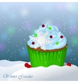 Sweet and delicious Christmas cupcake in snow vector image vector image