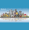 thailand city skyline with color buildings blue vector image vector image