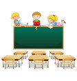 three kids in the classroom vector image vector image