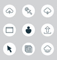 web icons set with virtual upload human and vector image vector image