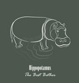 white hippopotamus silhouette vector image