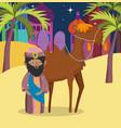 wise king and camel desert manger nativity merry vector image vector image