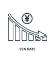 yen rate decrease graphic icon mobile app vector image
