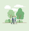 young couple walking on the park vector image vector image