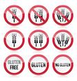 Gluten free no gluten warning signs vector image