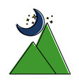 mountains camp with moon vector image