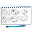 A notebook with a doodle design at the cover page vector image vector image