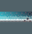 banner with coronavirus cells on city background vector image vector image