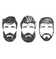 bearded man in profile barbershop hairstyle vector image vector image