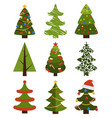 big set christmas tree symbols with without decor vector image vector image
