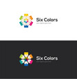 Bright logo with six colorful pencils vector image