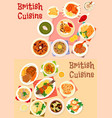british cuisine icon set for restaurant design vector image