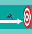 businessman running on arrow to the target vector image vector image