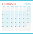 Calendar 2015 flat design template February Week vector image vector image