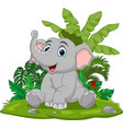 cartoon baelephant sitting in grass vector image vector image