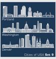 cities usa - portland washington denver vector image vector image