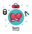 colorful poster of sports lifestyle with boxing vector image vector image