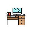 computer desk workplace flat color line icon vector image vector image