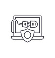 computer energy protection line icon concept vector image