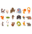 detailed flat set of funny animals horse vector image vector image