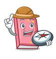 explorer diary mascot cartoon style vector image vector image