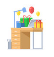festive office workplace with gifts vector image