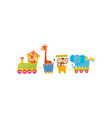 fox giraffe monkey and elephant traveling by vector image vector image