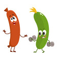 funny food characters zuccini versus sausage vector image vector image