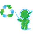 green hero with recycle symbol vector image
