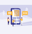 group of people with smartphone in landscape vector image vector image