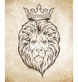 hand drawn crowned lion head over grunge paper vector image
