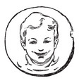 happy boy smiley face vintage engraving vector image vector image