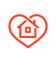 house in heart vector image vector image