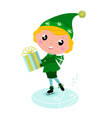 ice skating elf vector image vector image