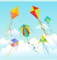 kites soaring in clouds beautiful vector image