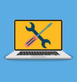 laptop with wrench and screwdriver on screen vector image