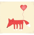 love card with a fox valentines day vector image vector image