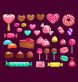 love heart candies sweets and cakes vector image