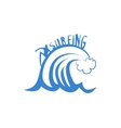 Man Riding The Crest Of Wave Print vector image vector image