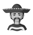 mexicanhuman race single icon in monochrome style vector image vector image