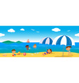 people on holiday at the sea seamless line vector image vector image