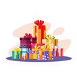 pile of gifts in colorful packaging vector image