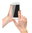Realistic hand holding mobile phone isolated on